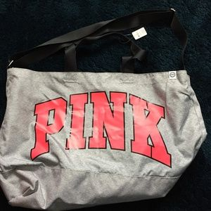NWT - Pink by Victoria Secrets Large Grey Duffel